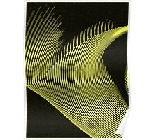 Yellow waves, line art, curves, abstract pattern 3 Poster