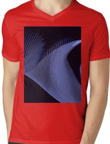 Blue waves, line art, curves, abstract pattern Mens V-Neck T-Shirt