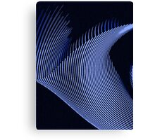 Blue waves, line art, curves, abstract pattern Canvas Print