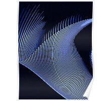 Blue waves, line art, curves, abstract pattern Poster