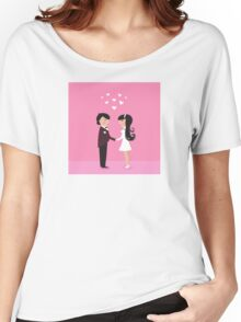 Wedding couple - bride and groom, isolated on pink Women's Relaxed Fit T-Shirt