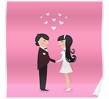Wedding couple - bride and groom, isolated on pink Poster