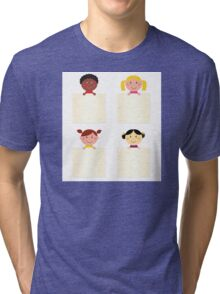 Four cute children with blank banners Tri-blend T-Shirt