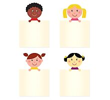 Four cute children with blank banners Photographic Print