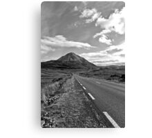 black and white road to the Errigal mountains Ireland Canvas Print