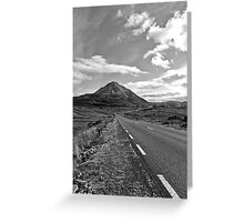 black and white road to the Errigal mountains Ireland Greeting Card