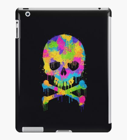 Abstract Trendy Graffiti Watercolor Skull  iPad Case/Skin
