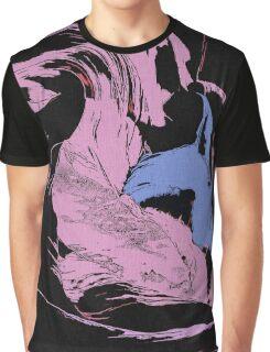 Blue Shark, at pink sea, abstract, cartoon artwork Graphic T-Shirt