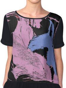 Blue Shark, at pink sea, abstract, cartoon artwork Chiffon Top