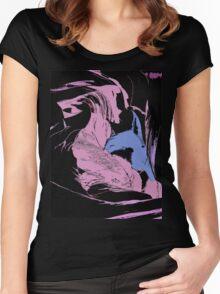 Blue Shark, at pink sea, abstract, cartoon artwork Women's Fitted Scoop T-Shirt