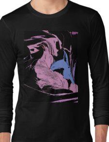 Blue Shark, at pink sea, abstract, cartoon artwork Long Sleeve T-Shirt
