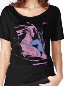 Blue Shark, at pink sea, abstract, cartoon artwork Women's Relaxed Fit T-Shirt