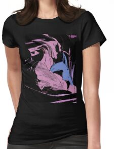 Blue Shark, at pink sea, abstract, cartoon artwork Womens Fitted T-Shirt