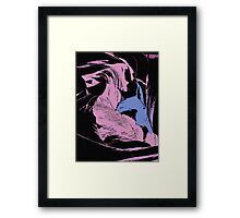 Blue Shark, at pink sea, abstract, cartoon artwork Framed Print