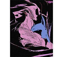 Blue Shark, at pink sea, abstract, cartoon artwork Photographic Print