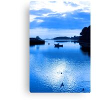 blue toned silhouette of boat and birds at sunset Canvas Print