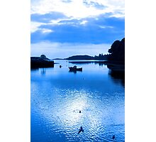 blue toned silhouette of boat and birds at sunset Photographic Print