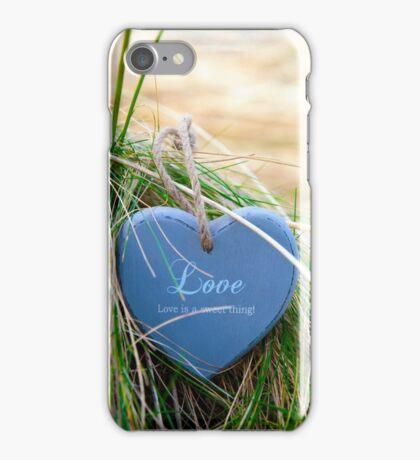 blue wooden love heart on beach iPhone Case/Skin