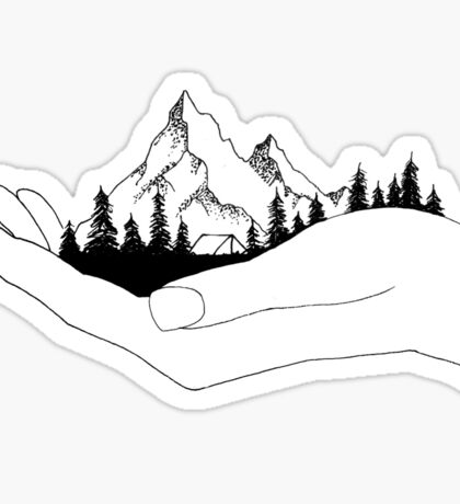 Mountain in Hands Sticker