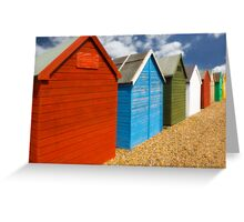 Multi-coloured beach Huts Greeting Card
