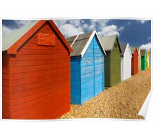 Multi-coloured beach Huts Poster