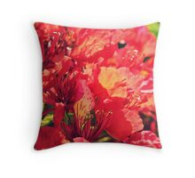 Red Fire Tree Flowers Throw Pillow
