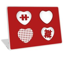 Love Heart Poster - Solid, Knitted & Puzzled Hearts Laptop Skin