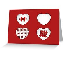 Love Heart Poster - Solid, Knitted & Puzzled Hearts Greeting Card