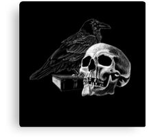 Quoth the Raven with Skull Canvas Print