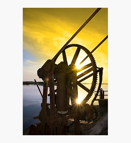 crane gears on Salleen pier with sunset Photographic Print