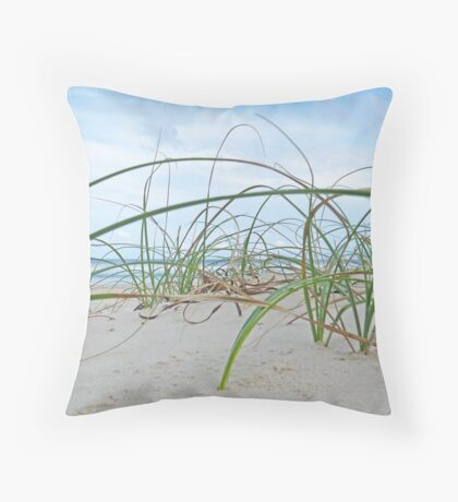 Lennox Head grassy hill with ocean backdrop Throw Pillow