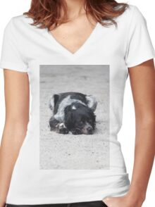 dog in the street Women's Fitted V-Neck T-Shirt