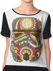 Vintage Psychedelic Storm Mask Chiffon Top