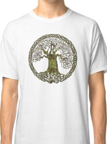 CELTIC KNOT TREE OF LIFE - olive grunge Classic T-Shirt