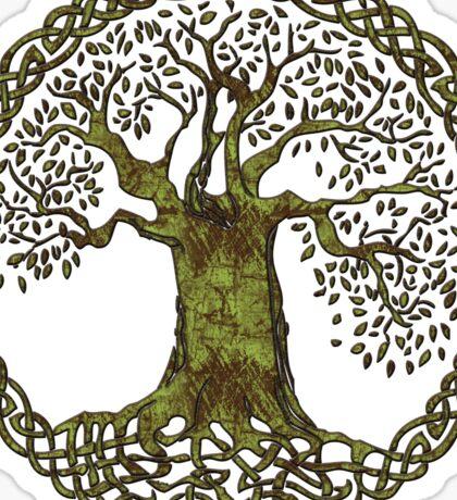 CELTIC KNOT TREE OF LIFE - olive grunge Sticker