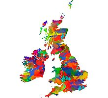 Great Britain Watercolor Map Photographic Print