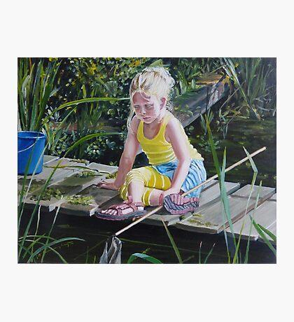 Kikkervisjes vangen - fishing for babyfrogs Photographic Print