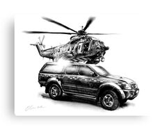 Coastguard Truck and Helicopter Canvas Print