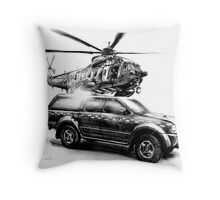 Coastguard Truck and Helicopter Throw Pillow
