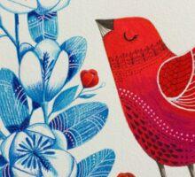 Red bird among blue flowers Sticker