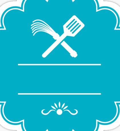 Spatula Flogger Whip Crossed Rosette Retro Sticker