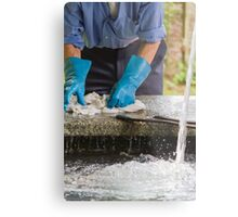 man washing clothes the old fountain Metal Print