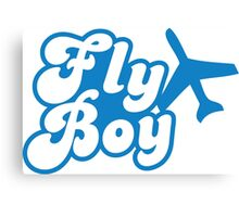 Fly Boy with jet plane Canvas Print
