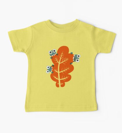 Cute Bugs Eating Autumn Leaves Baby Tee