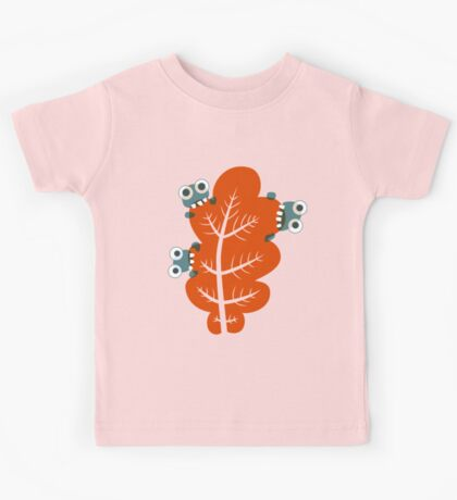 Cute Bugs Eating Autumn Leaves Kids Tee