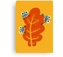Cute Bugs Eating Autumn Leaves Canvas Print
