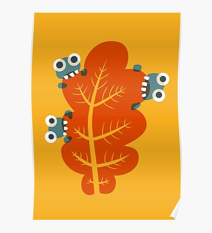 Cute Bugs Eating Autumn Leaves Poster