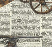 Vintage Military Cannons over Old Dictionary Book Page Sticker