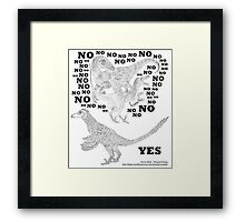 Just say NO to unfeathered non-avialan maniraptoran theropod dinosaurs Framed Print