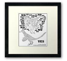 Just say NO to unfeathered non-avialan maniraptoran theropod dinosaurs Framed Print